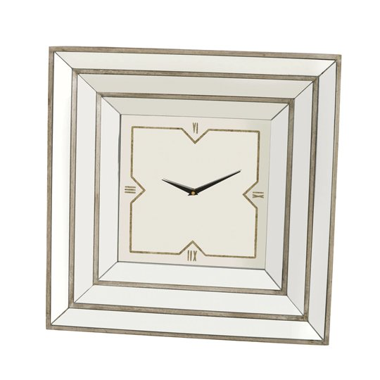Zoey Mirrored Detail Clock With Antique Gold Edges