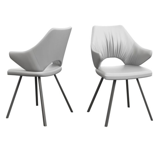 Zola White Faux Leather Dining Chairs In Pair