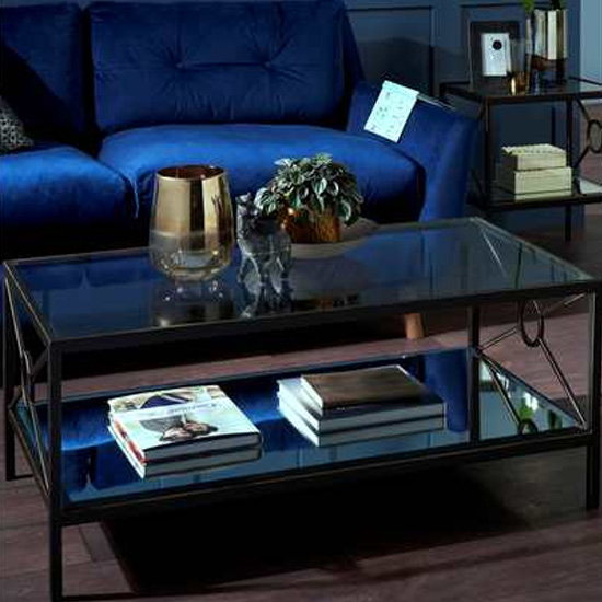Zosma Clear Glass Coffee Table In Antique Brass Base