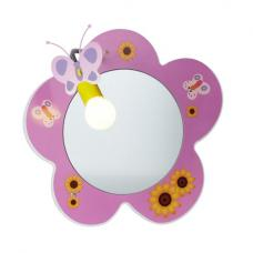 Novelty Pink Flower Childrens Mirror Wall Light