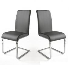 Lotte I Dining Chair In Grey Faux Leather in A Pair