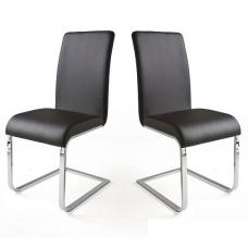 Lotte I Black Faux Leather Dining Chair In A Pair
