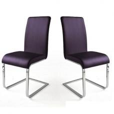 Lotte I Violet Faux Leather Dining Chair In A Pair