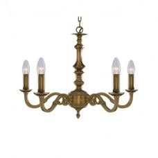 Malaga 5 Light Solid Antique Brass Ceiling Light