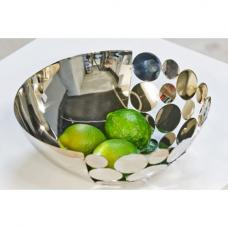 Decorative Bowl Circles Food Safe In Silver Shiny