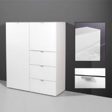 Primera Tall Sideboard In White Glass With 2 Doors And 3 Drawers