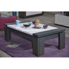 Quatro White High Gloss Finish Glass Top Wooden Coffee Table