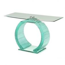 Iceman Console Table In All Glass With Chrome Support