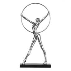 Mason Woman With Hoop Sculpture In Silver And Black Base