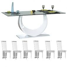 Smooth Clear Glass Top Dining Table And 6 Dining Chairs
