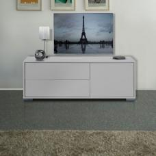 Novi White Finish 1 Door LCD TV Stand With 2 Drawer