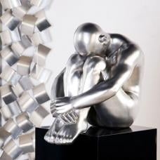 Thinking Man Sculpture In Silver Polystone