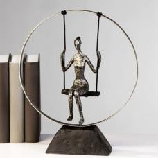 Swing Sculpture In Poly Metal Silver With Black Base