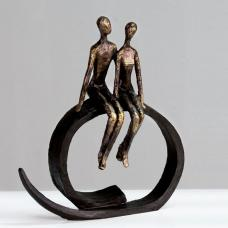 Close Sculpture In Bronze With Black Metal Ring