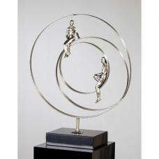 Love Story Sculpture In Silver With Black Marble Base