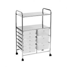 Milton Trolley In Chrome And Plastic With 9 Drawers And 2 Shelf