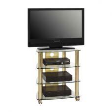 Prague LCD TV Stand In Clear Glass Top With Brass Metal Frame