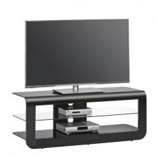 Credenza Glass LCD TV Stand In Black High Gloss With Glass Shelf