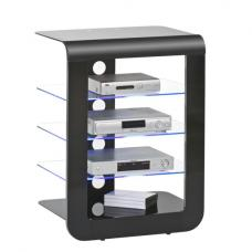 Mezzo Hi Fi Stand In Black Glass Top With Blue LED Lighting