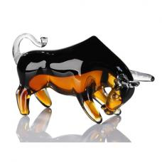 Bull Sculpture In Black And Brown Glass