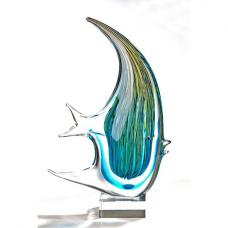 Fish Sculpture In Multicoloured Glass With Clear Base