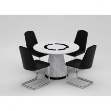 Sonati Marble Effect Circular Dining Table With 4 Bolza Chairs