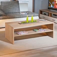 Utopia Wooden Coffee Table In Sonoma Oak With Undershelf