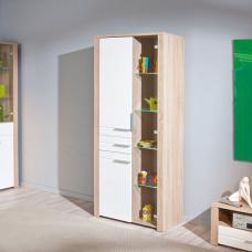 Utopia Glass Display Cabinet In Sonoma Oak With 3 Doors And LED