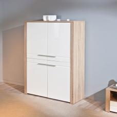 Utopia Highboard In Sonoma Oak With 4 Doors In White Fronts