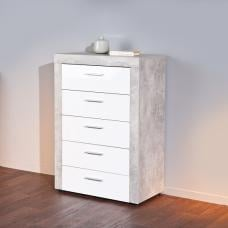 Croagh Drawers Chest In Light Grey And 5 Drawers In White Fronts