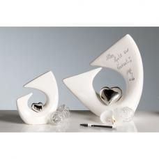 Balance Heart Sculpture In White And Silver