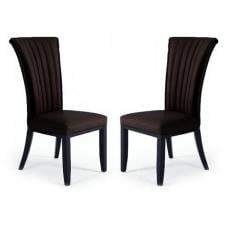 Horizon Dining Chair In Brown Bonded Leather In A Pair