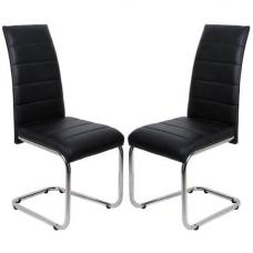 Daryl Dining Chair In Black PU Leather in A Pair