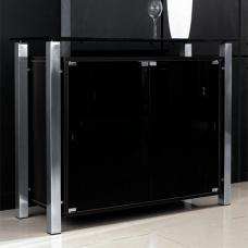 Mabella Modern Glass Sideboard In Black With 2 Doors