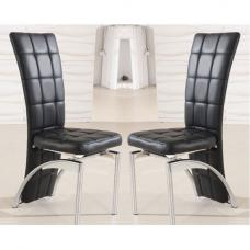 Ravenna Dining Chair In Black Faux Leather in A Pair
