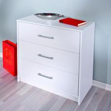 New York Solid Pine White Chest Of Drawers With 3 Drawers