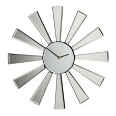 Lydia Modern Wall Clock in Glass With Mirrored Spoke