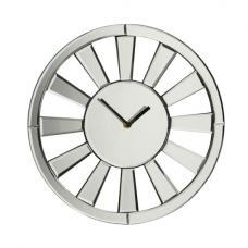 Avalon Modern Wall Clock in Glass With Mirrored Spoke Rim