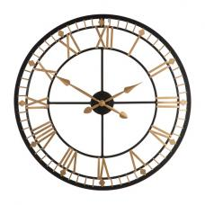 Adney Wall Clock Round In Black And Gold Metal