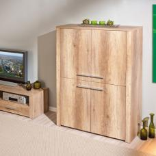 Utopia Wooden Highboard In Wild Oak With 4 Doors