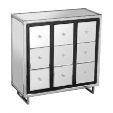Medio Mirror Effect Top 9 Drawers Sideboard With Metal Frame