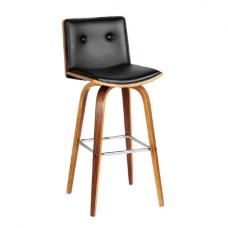 Annabelle Bar Stool In Black Leather Effect With Walnut Frame