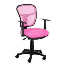 Santo Pink Padded Fabric Seat With Mesh Back Rest Office Chair