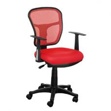 Santo Red Padded Fabric Seat With Mesh Back Rest Office Chair