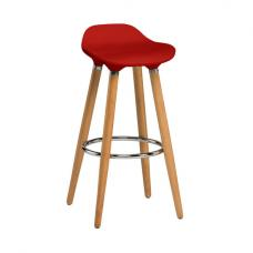 Adoni Bar Stool In Red ABS With Natural Beech Wooden Legs