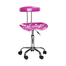 Hanoi Office Chair In Pink ABS With Chrome Base And 5 Wheels