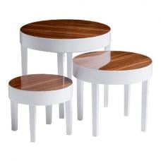 Archie Nest of Tables In Pear Wood With Pine Legs In White Gloss