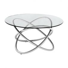 Villa Lamp Table In Clear Glass Top With Stainless Steel Frame