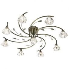 Sierra 9 Antique Brass Ceiling Light With Sculptured Clear Glass