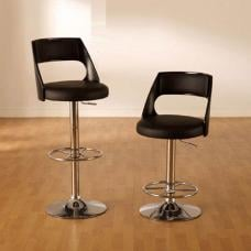 Boston Bar Stool In Black Faux Leather in a Pair